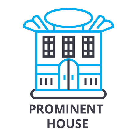prominent house thin line icon, sign, symbol, illustation, linear concept vector