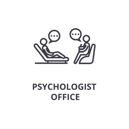 psychologist couch thin line icon, sign, symbol, illustation, linear concept vector Stok Fotoğraf - 102059721