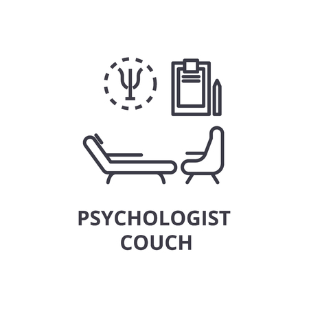 psychologist couch concept thin line icon, sign, symbol, illustation, linear concept vector Illustration