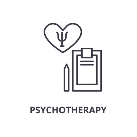 psychotherapy thin line icon, sign, symbol, illustation, linear concept vector Stock Illustratie