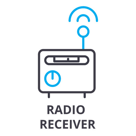 radio receiver thin line icon, sign, symbol, illustation, linear concept vector 스톡 콘텐츠 - 102059727
