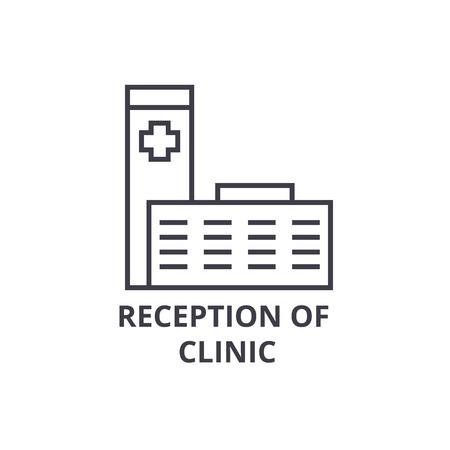 reception of clinic thin line icon, sign, symbol, illustation, linear concept vector Illustration