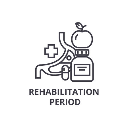 rehabilitation period thin line icon, sign, symbol, illustation, linear concept vector
