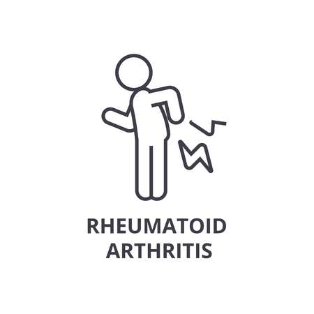 rheumatoid arthritis thin line icon, sign, symbol, illustation, linear concept vector