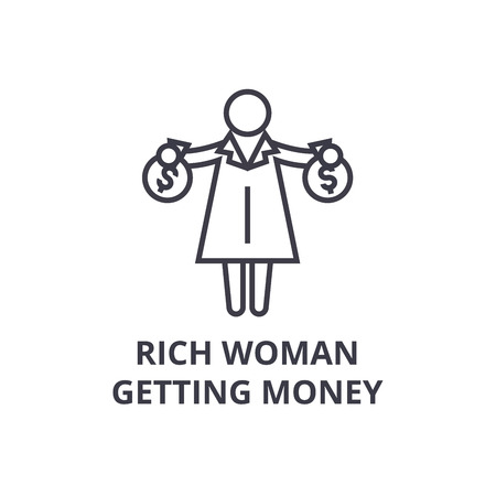 rich woman getting money thin line icon, sign, symbol, illustation, linear concept vector