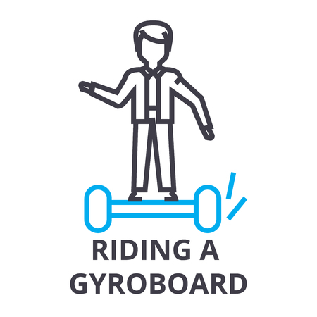 riding a gyroboard thin line icon, sign, symbol, illustation, linear concept vector