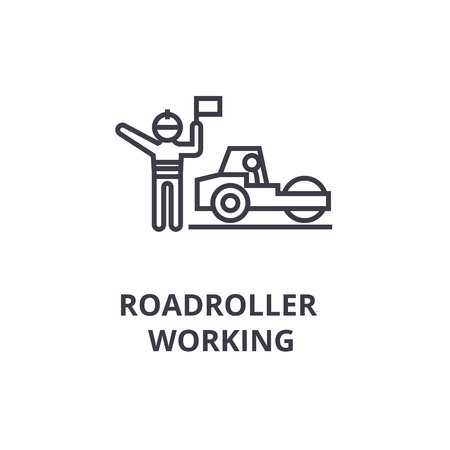 roadroller working thin line icon, sign, symbol, illustation, linear concept vector