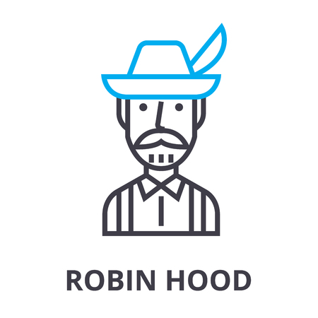 robin hood thin line icon, sign, symbol, illustation, linear concept vector Stock Illustratie