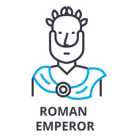roman emperor thin line icon, sign, symbol, illustation, linear concept vector