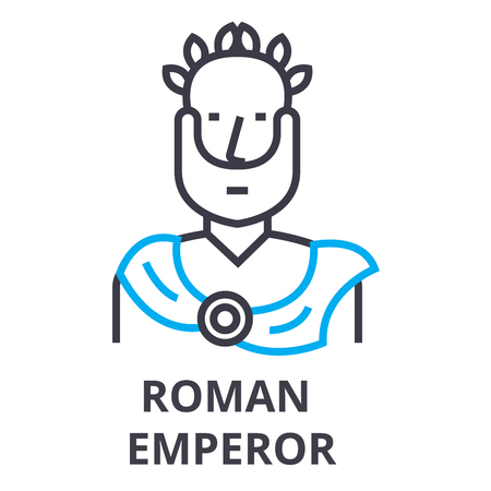 Emperador romano icono de línea delgada, signo, símbolo, ejemplares, vector de concepto lineal Ilustración de vector