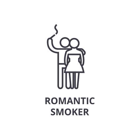 romantic smoker thin line icon, sign, symbol, illustation, linear concept vector