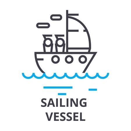 sailing vessel thin line icon, sign, symbol, illustation, linear concept vector 写真素材 - 102059931