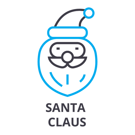 santa claus thin line icon, sign, symbol, illustation, linear concept vector