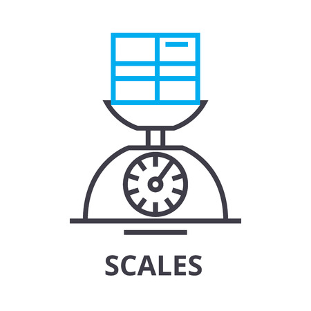 scales thin line icon, sign, symbol, illustation, linear concept vector 일러스트