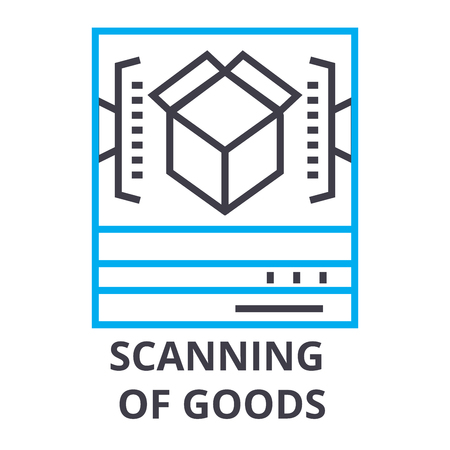 scanning of goods thin line icon, sign, symbol, illustation, linear concept vector Illustration