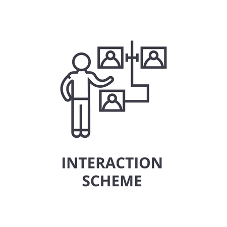 Scheme of the interaction thin line icon, sign, symbol, illustration, linear concept vector. Illustration