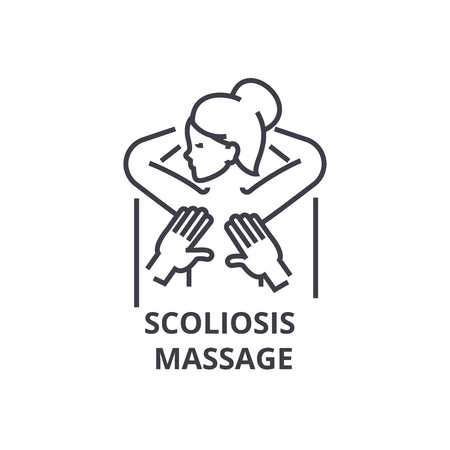 Scoliosis massage thin line icon, sign, symbol, illustration, linear concept vector.