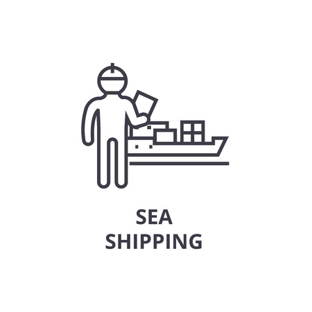 Sea shipping thin line icon, sign, symbol, illustration, linear concept vector.