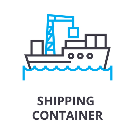 Shipping container thin line icon, sign, symbol, illustration, linear concept vector.