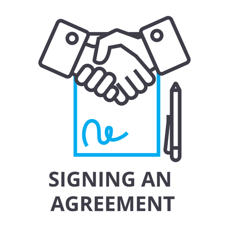 Signing an agreement thin line icon