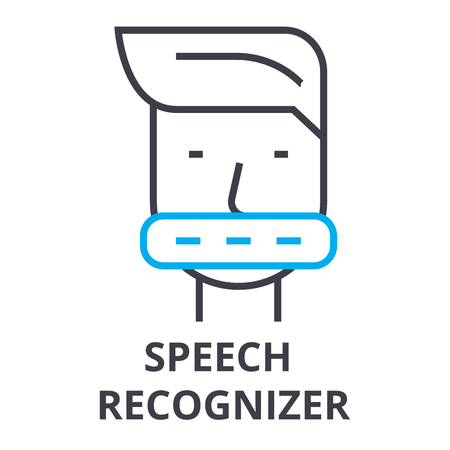 Speech recognizer thin line icon, sign, symbol, illustration, linear concept vector.