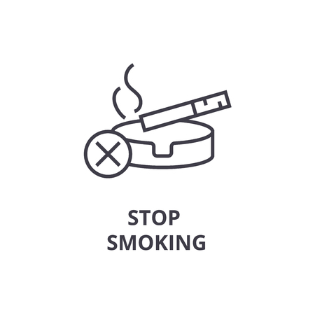 Stop smoking thin line icon