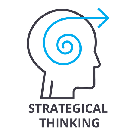 Strategical thinking thin line icon