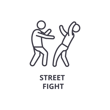 Street fight thin line icon, sign, symbol, illustration, linear concept vector.