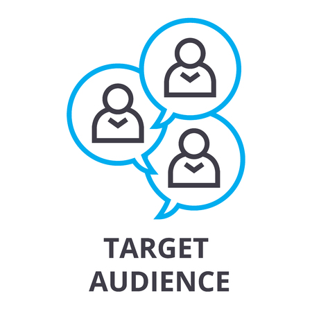 Target audience thin line icon, sign, symbol, illustration, linear concept vector.
