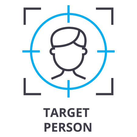 Simple target person thin line icon Stock Illustratie
