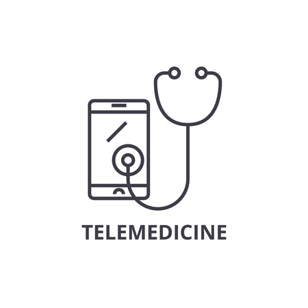 Simple telemedicine thin line icon Banque d'images - 100142195