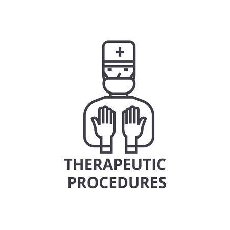 Therapeutic procedures thin line icon, sign, symbol, illustration, linear concept vector.