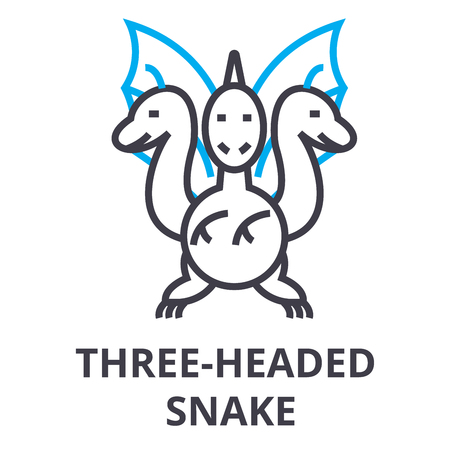 Simple three headed snake thin line icon Illustration