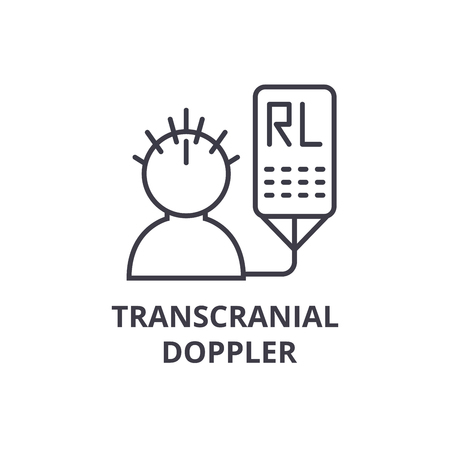 Simple trans-cranial Doppler thin line icon Иллюстрация