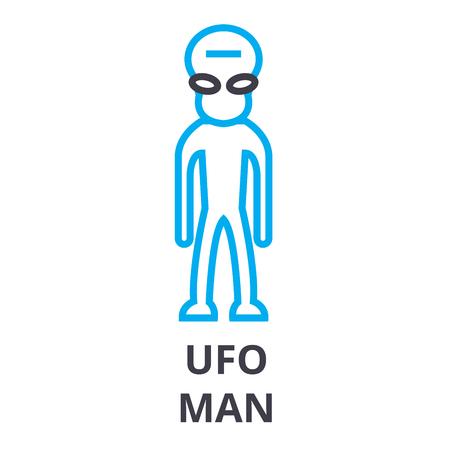 Simple UFO man thin line icon