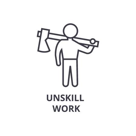 Simple unskill work thin line icon Stock Illustratie