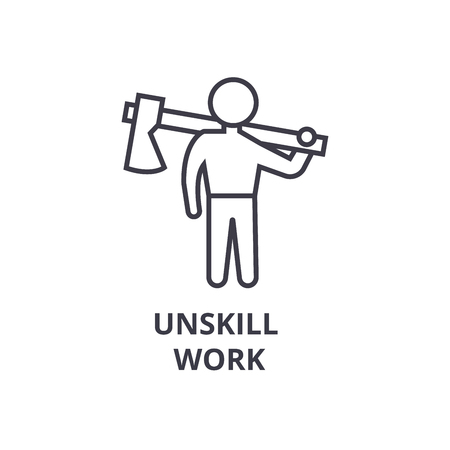 Simple unskill work thin line icon Illustration