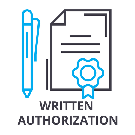 Simple written authorization thin line icon Illustration