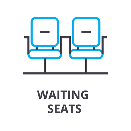 waiting seats thin line icon, sign, symbol, illustation, linear concept vector Stock Photo