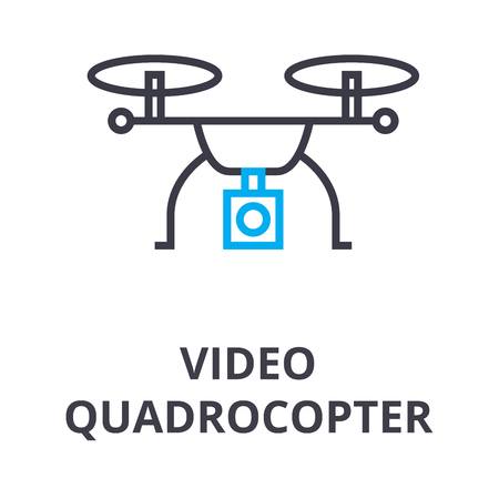 video quadrocopter thin line icon, sign, symbol, illustation, linear concept vector