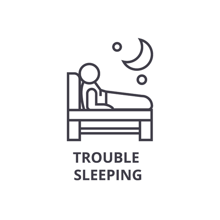 trouble  sleeping thin line icon, sign, symbol, illustation, linear concept vector Banco de Imagens - 100371974