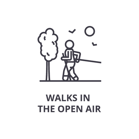 walks in the open air thin line icon, sign, symbol, illustation, linear concept vector Stok Fotoğraf