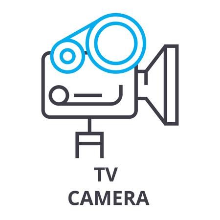 tv camera thin line icon, sign, symbol, illustation, linear concept vector