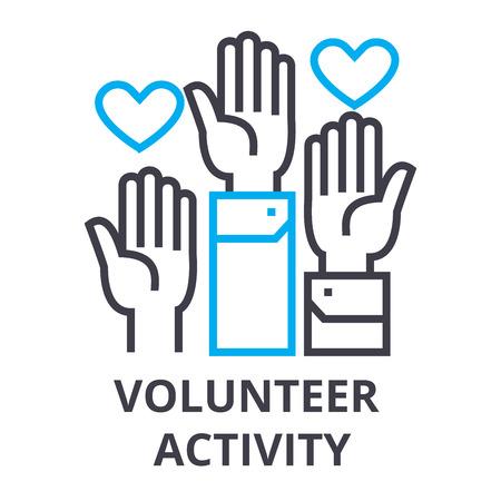 Volunteer activity thin line icon, sign, symbol, illustration, linear concept vector