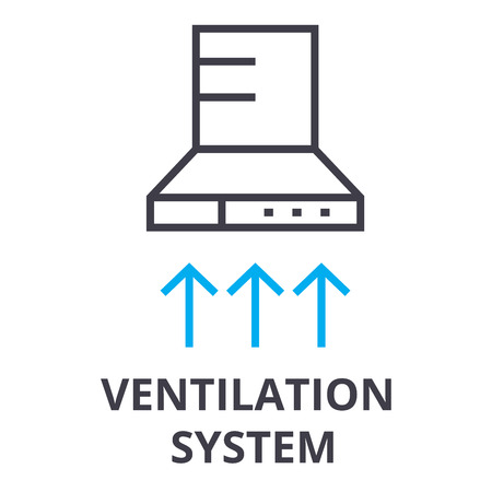 ventilation system thin line icon, sign, symbol, illustation, linear concept vector