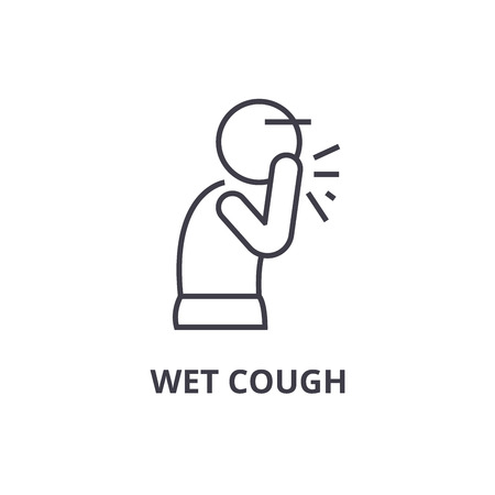 Wet cough thin line icon, sign, symbol, illustration, linear concept vector