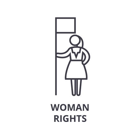 woman rights thin line icon, sign, symbol, illustation, linear concept vector 版權商用圖片 - 100358077