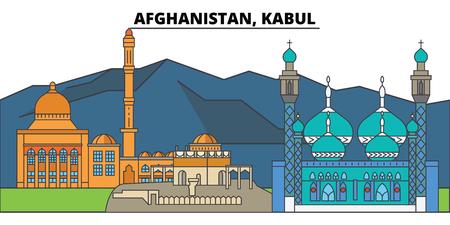 Afghanistan, Kabul. City skyline: architecture, buildings, streets, silhouette, landscape, panorama, landmarks, icons. Editable strokes. Flat design line vector illustration concept