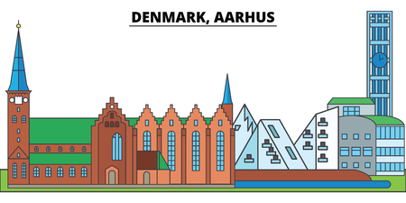Denmark, Aarhus. City skyline, architecture, buildings, streets, silhouette, landscape, panorama, landmarks, icons. Editable strokes. Flat design line vector illustration concept Illustration