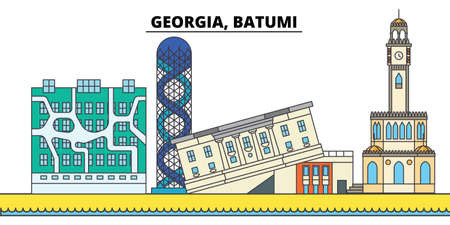 Georgia, Batumi. City skyline, architecture, buildings, streets, silhouette, landscape, panorama, landmarks, icons. Editable strokes. Flat design line vector illustration concept